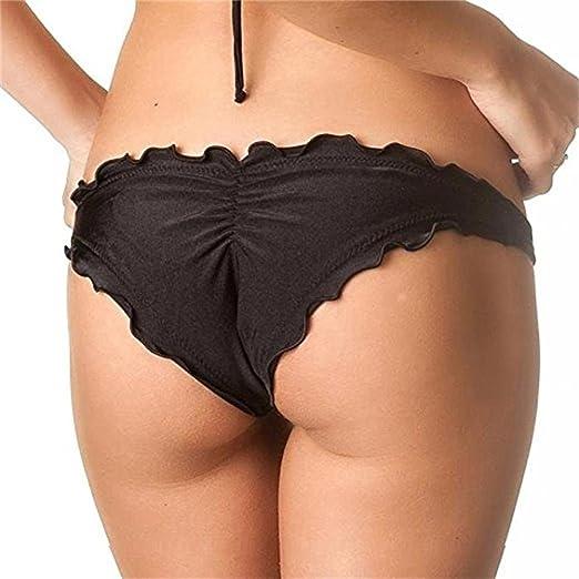 644a6cd8880 Sexy Women Ruched Ruffle Cheeky Bikini Bottoms Black at Amazon ...