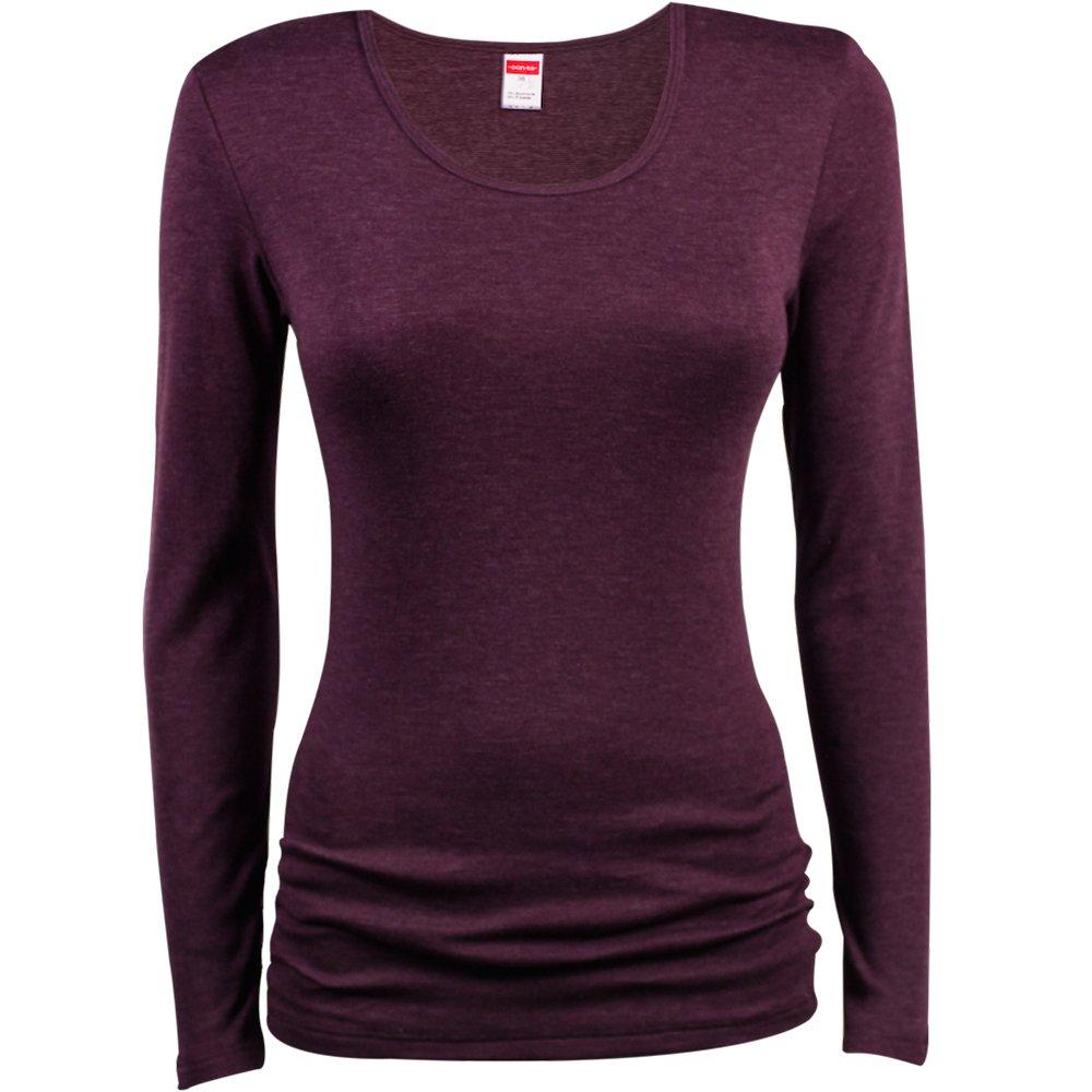 Damen Thermo-Shirt - Langarm - Unterhemd in Feinripp-Qualität -Thermowäsche - Unterwäsche - Farbe Schwarz oder Burgund - Größe 36 bis 50 - Conta un1017