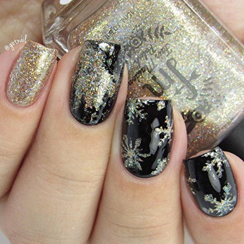 Whats Up Nails - Gold Merry Snowflake Vinyl Stencils for