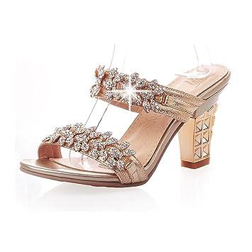963a7193d8a64d GTUFDRG Frauen Strass Bling Sandalen Sommer Open Toe Hausschuhe Chunky High  Heels Schuhe Gold 5