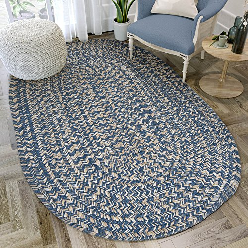 Super Area Rugs, Freeport Braided Collection Wool Mix Rug Denim Blue & Ivory,2' x 4' Oval