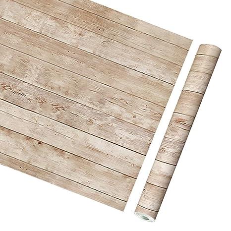 Luz marrón tablón de madera autoadhesivo estante de vinilo ...