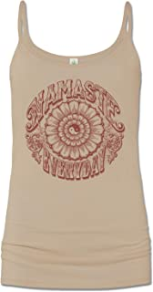 product image for Soul Flower Women's Organic Cotton Namaste Everyday Cami Tank Top, Tan Long Graphic Yoga Camisole, Sleeveless Ladies Shirt