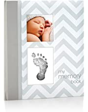 Pearhead First 5 Years Chevron Baby Memory Book with Clean-Touch Baby Safe Ink Pad to Make Baby Hand or Footprint