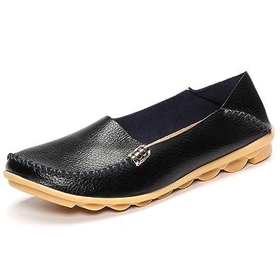 Cuir Pur Glissement De Couleur Sur Les Chaussures Plates Occasionnels 6MeJyw