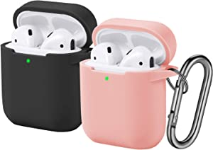 [2 Pack] Funbiz Designed for Airpods Case Cute Silicone Cover with Keychain for Girls Boys, Cool Protective Charging Case Skin Compatible with Apple Airpods 2 & 1, (Front LED Visible) Black/Pink