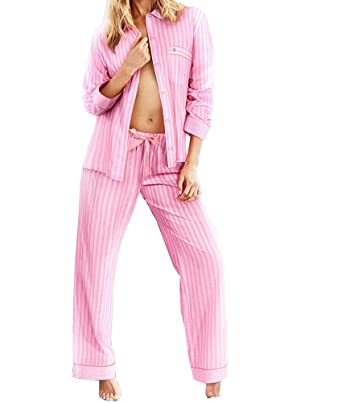 Victorias Secret The Mayfair Pajama Set long sleeve Pink Striped Large