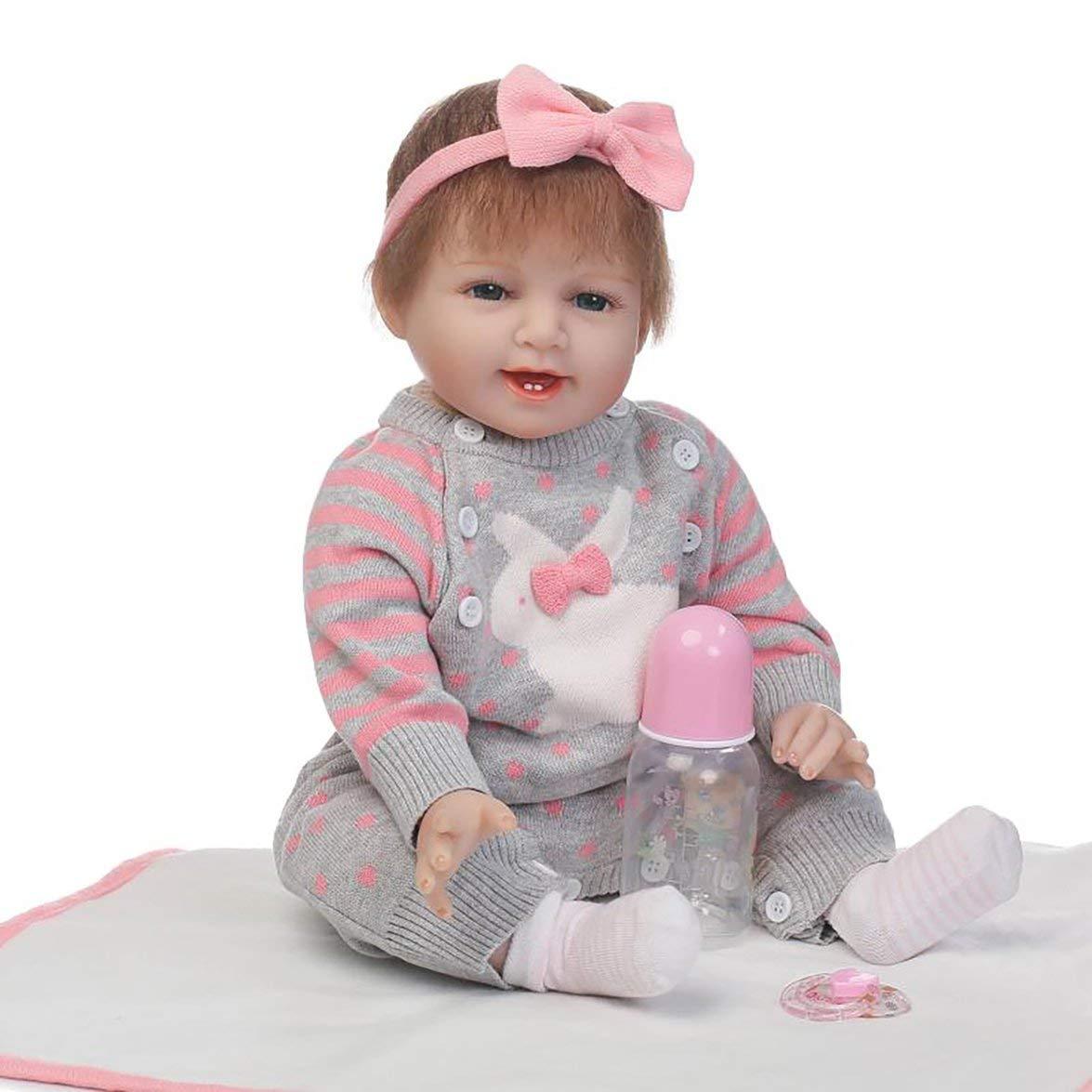 Kongqiabona Pullover 55 cm Kaninchen Pullover Kongqiabona ganzkörper weich silikon Vinyl Baby Puppe ungiftig sicheres Spielzeug handgemacht schöne lebensechte neugeborenes Baby Puppe Spielzeug 128652