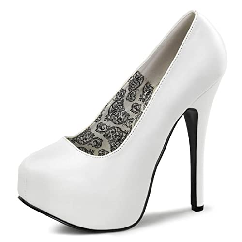 38d2bbd508aa Summitfashions White Patent Wide Width Pumps with Concealed Platform and 5.75  Inch Heels Size  11