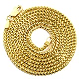 "LoveBling 10K Yellow Gold 1.5mm Solid Diamond Cut Franco Chain Necklace with Lobster Lock (18"" to 30"")"
