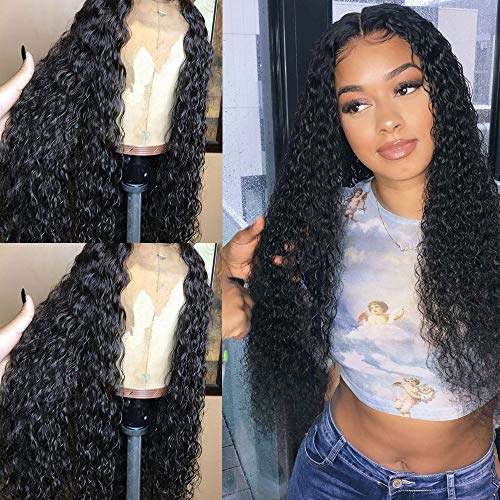 - Evlynn Hair Curly Wigs Lace Front Wigs Wet and Wavy Synthetic Black Loose Curly Wigs Heavy Density Glueless Lace Wigs for Women Synthetic Wigs(24
