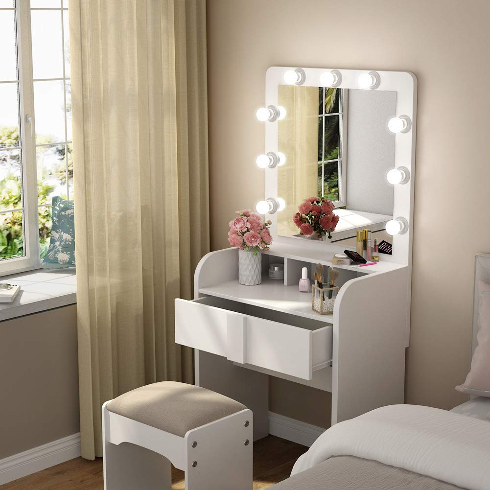Tribesigns Vanity Table Set with Lighted Mirror, Makeup Vanity Dressing Table with 9 Cool Light Bulb, Modern Dressing Table Dresser Desk with Drawers for Bedroom, White