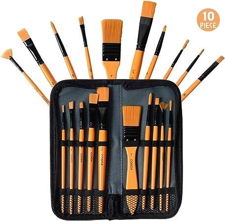 Conda - Juego de pinceles acrílicos con estuche para principiantes, estudiantes, profesionales y artistas: Amazon.es: Hogar