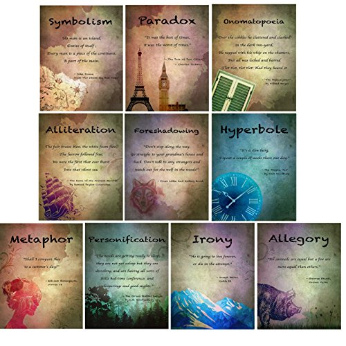 Vintage Elements of English Language and Literature Posters, Set of 10 (Onomatopoeia, Paradox, Personification, Irony, Allegory, Metaphor, Symbolism, Foreshadowing, Alliteration, and Hyperbole) for $<!--$24.95-->