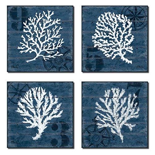 4 Indigo Blue Coral Nautical Signs; Coastal Decor; Four 12x12in Poster Prints Prints. Blue/White