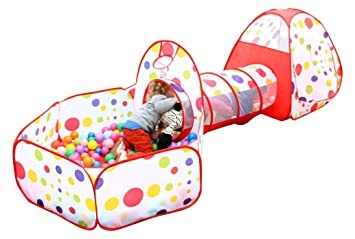 EocuSun Polka Dot 3-in-1 Folding Kids Play Tent with Tunnel Ball  sc 1 st  Amazon.com & Amazon.com: EocuSun Polka Dot 3-in-1 Folding Kids Play Tent with ...