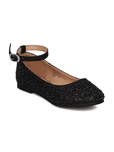 9256f4a89436 Little Angel Girls Glitter Ballet Flat GH29 by Rose Black Little Kid 1