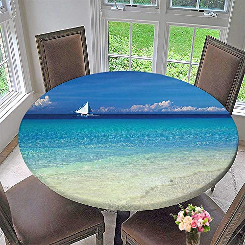 Mikihome Round Premium Table Cloth Blue Sailboat Tropic in Philippines Horizon Paradise Perfect for Indoor, Outdoor 40