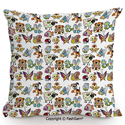 (FashSam Polyester Throw Pillow Cushion Collection of Cartoon Animals Adorable Funny Toy Figures Play Time Childhood Theme for Sofa Bedroom Car Decorate(18