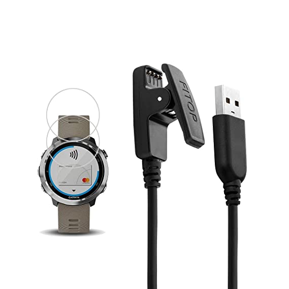 X1 for Garmin Forerunner 645 Charger, Forerunner 645 Charging Cable,Charging Clip Synchronous Data Cable and 2Pcs Free HD Tempered Glass Screen ...