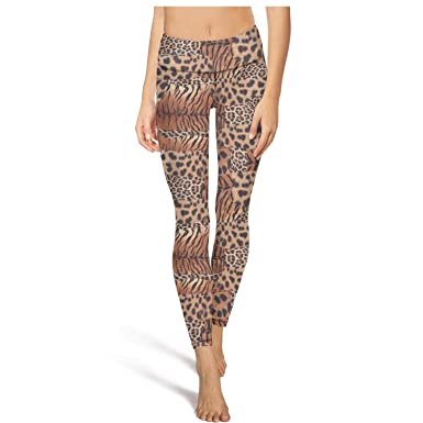 0d5812aade922 Flare Yoga Pants for Womens Workout Leggings Leopard Cheetah Print Tiger  Pattern Brown Sport Workout Running