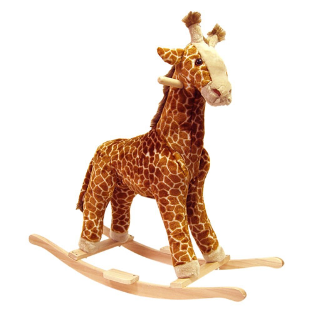 Trademark Happy Trails Giraffe Plush Rocking Animal, Tan/Brown