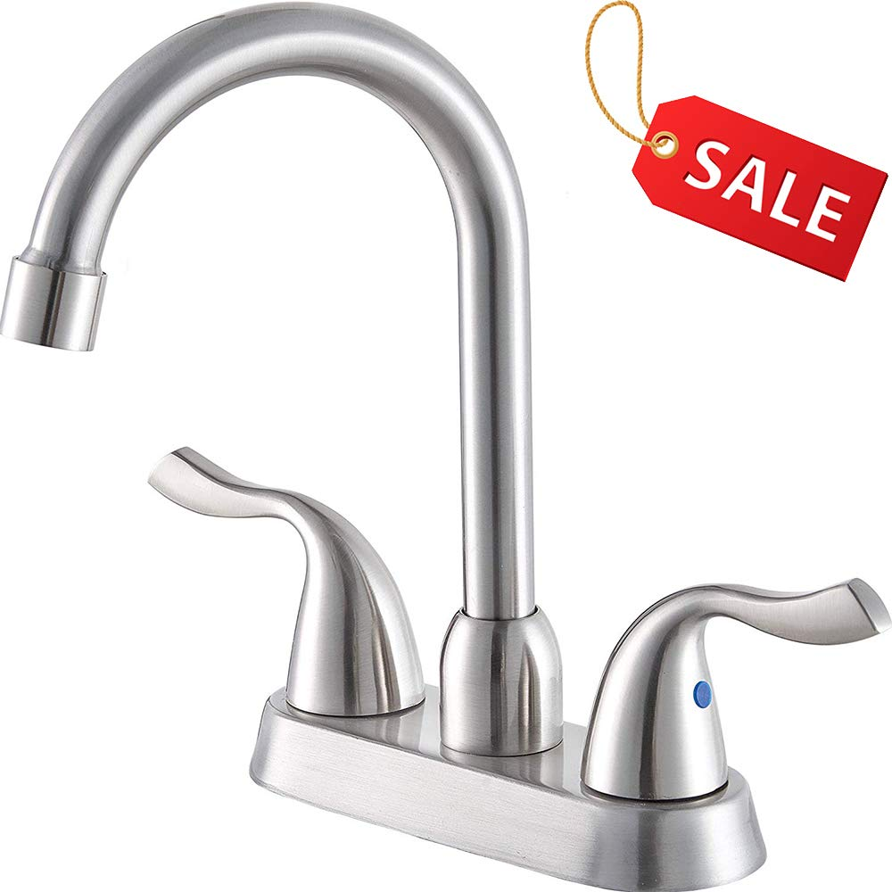Hotis Commercial Two Handle Stainless Steel Brushed Nickel Bathroom Faucet, Lavatory Bathroom Faucets Without Pop-Up Drain