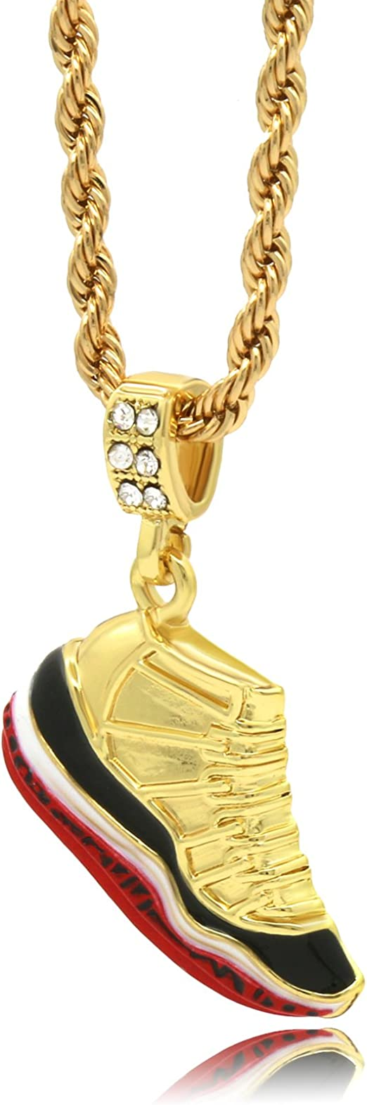 """Mens 14k Gold Plated Hip Hop Retro 11 Gym Red Shoe Pendant 4mm 24/"""" Rope Chain"""