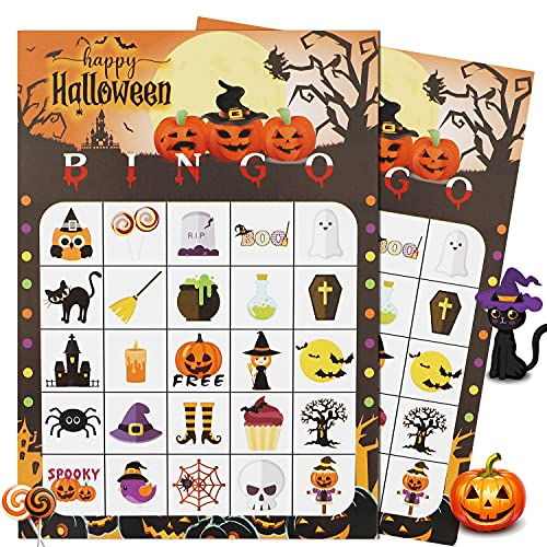 Halloween Bingo Game Halloween Party Games for Kids 24 Players, School Classroom Games, Trick or Treating, Halloween Party Favors Supplies, Family Activity
