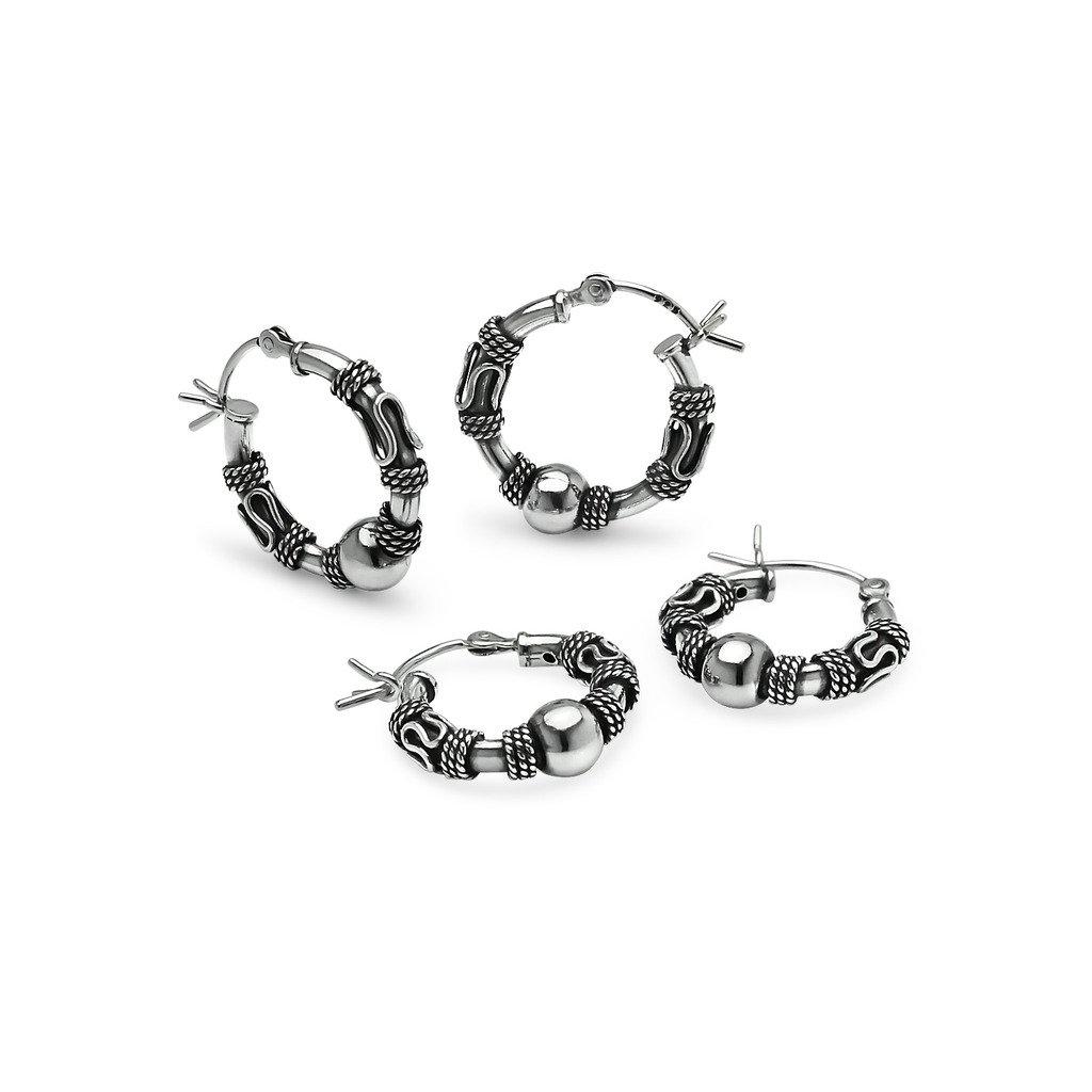 Sterling Silver Two Pair Set of 14mm & 18mm Large Endless Hoop Bali Earrings, Men & Women - Nine2Five
