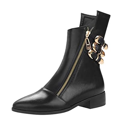 8d4493f414 Agodor Women's Flat Chunky Heel Closed Toe Ankle Boots with Zipper Buckle  Winter Shoes Black