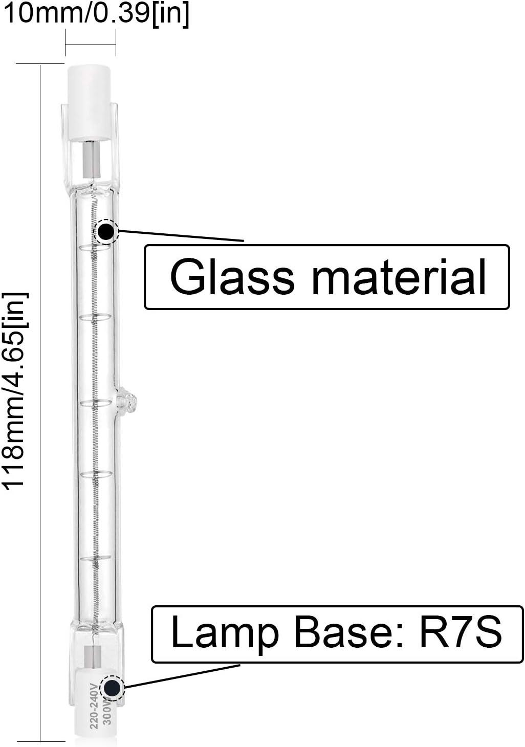 Confezione da 5 Dimmerabile J118 Alogena 300W Slim Lineare Bianco Caldo 2800K 5900lm Angolo del fascio di 360 gradi Bonlux R7S Lampada Alogena Lineare 118mm