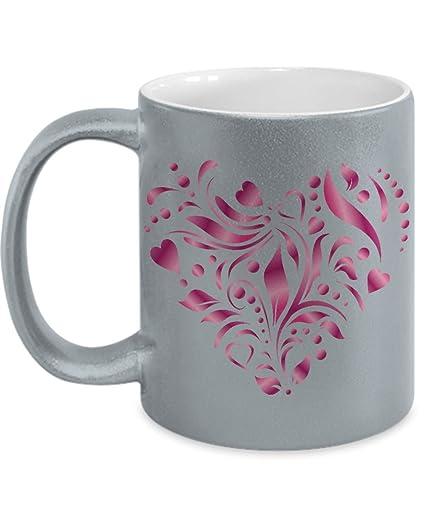 Amazon.com: Artsy Heart Gifts for Her Glittery mug -Taza ...