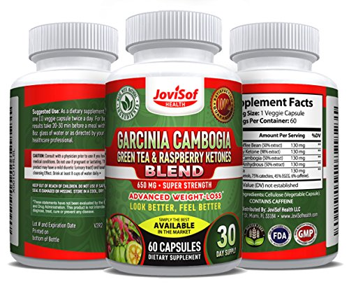 Pure Garcinia Cambogia Green Tea Extract | Best Weight Loss Pills with Green Coffee Bean & Red Raspberry Ketones | Boost Metabolism for Men and Women + Fat Burner + Hunger Suppression | 60 Count by JoviSof Health