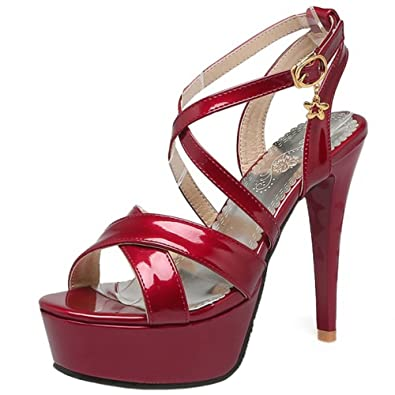 TAOFFEN Damen Criss Cross Stiletto Sandalen