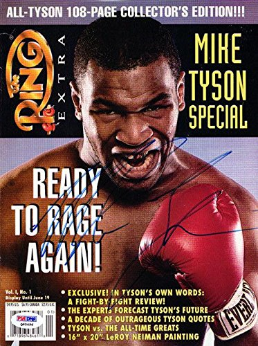 Mike Tyson Autographed Signed The Ring Magazine Cover Vintage Q65496 PSA/DNA Certified Autographed Boxing Magazines