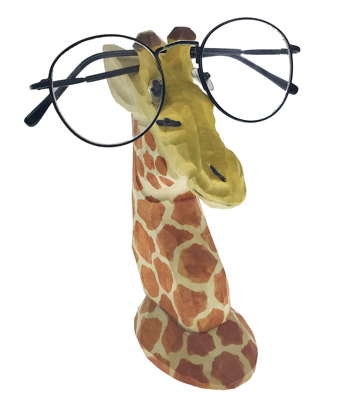 Alrsodl Vivid Natural Handmade Wood Carving Animal Eyeglass Holder Spectacle Stand For Children School Office Study Room(Giraffe)