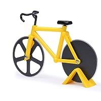 Zonyee Pizzaschneider Fahrrad, Pizzaroller aus Rostfreiem Stahl, Antihaftbeschichteter Pizza Schneider mit Ständer, Geeignet für Pizzaparty usw, Interessante Geschenke, Gelb