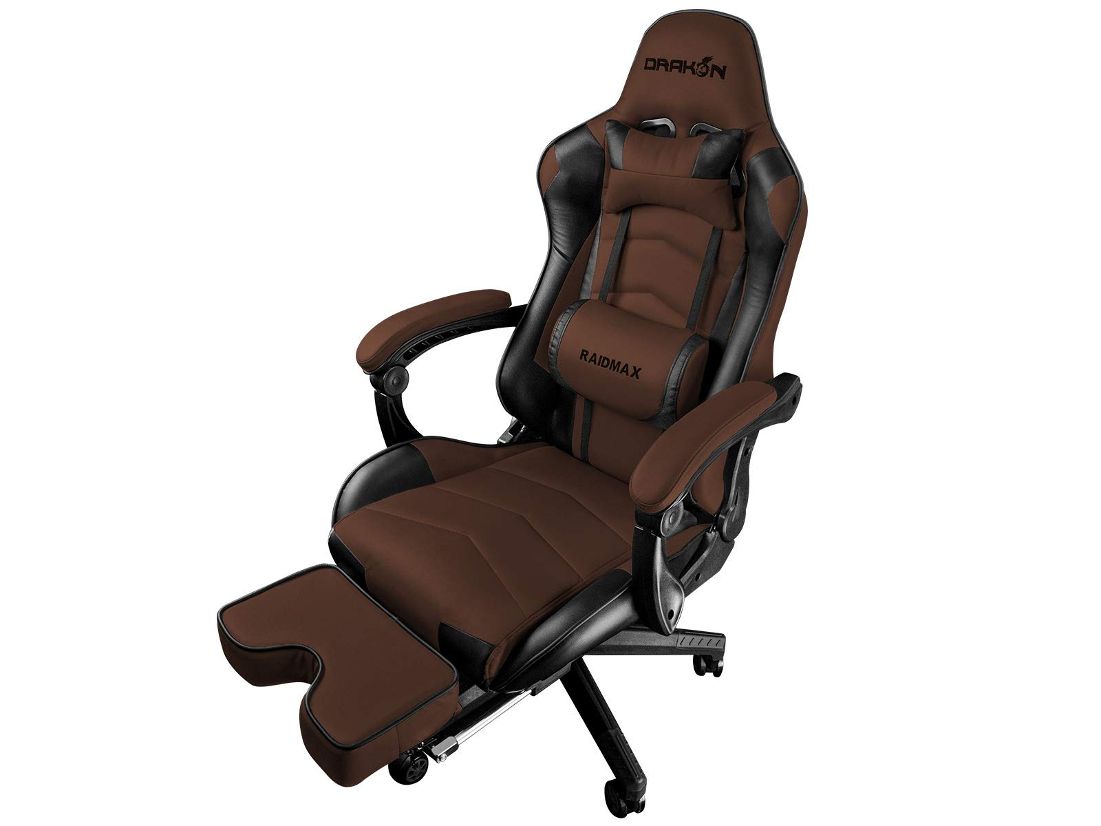 Raidmax DK709 Drakon Gaming Chair Ergonomic Racing Style Pu Leather Seat, Headrest with Foldable Foot/Leg Rest (Brown) by Raidmax