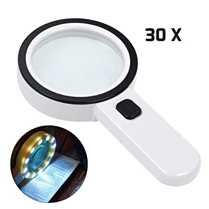 Kaome 5 LED Magnifying Glass with 2 Lighting Modes 2X Rectangular Foldable for