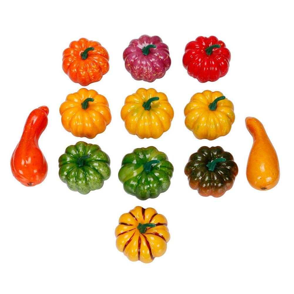 RALMALL Halloween Artificial Pumpkin Decorations,12 Pcs Assorted Fake Pumpkins Fake Vegetables Ornaments for Halloween Autumn Thanksgiving Garden Home and Harvest Decoration by RALMALL (Image #2)