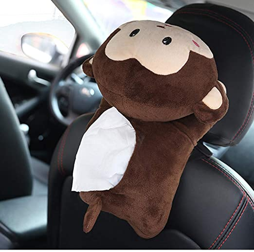 Home Decor Cartoon Animal Car Armrest Tissue Box Plush Paper Container Holder