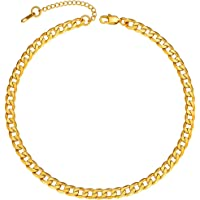 "ChainsPro Men Sturdy Cuban Link Chain, 5/6/9/10/12/14/15 MM Width, 14""-30"", 18K Gold Plated/316L Stainless Steel//Black…"