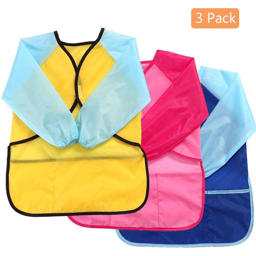 Kids Art Aprons Children Waterproof Aprons Artist Aprons with Long Sleeve, Long Section Apron for Toddler 3-8 Years (Paints and Brushes not Included)-Blue+Yellow Willsm
