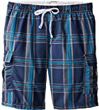 U.S. Polo Assn. Men's Big and Tall Basic Plaid Swim Cargo,Classic Navy,2X