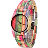 FunkyTop Women's Wooden Watch Bamboo Analog Quartz Lightweight Handmade Wrist Watch