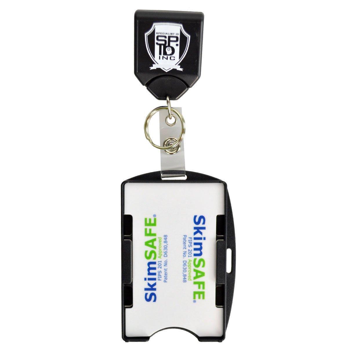 Heavy Duty Black Badge Reel w/Key Ring and Skimsafe 2-Card RFID Blocking Shielded ID Badge Holder by Specialist ID