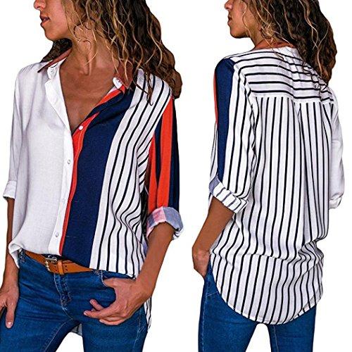 Blouse Manches Stripe Longues Femmes Tops Bouton Chemise Couleur Chic TiaQ Bloc Multicolore T D't Shirts Automne wxTXq6pq