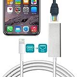 Lightning to RJ 45, Jiqua Adaptador de Ethernet Lightning, Lightning a RJ45 Ethernet LAN, cable de red, adaptador de red 10/100 Mbps con cable para iPhone/iPad, Play & Play, requerido iOS10.0 o superior (plata)