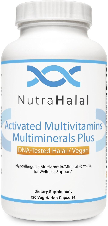 NutraHalal Advanced Formula Activated Halal MultiVitamin MultiMineral – Halal DNA Tested Vitamin B, C, D, D3, E, B Complex 120 Count